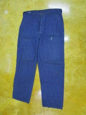 """RARE Vintage USN / Navy Button Fly """"Stove Pipe"""" Dungarees ~ GREAT SIZE 37 X 31"""