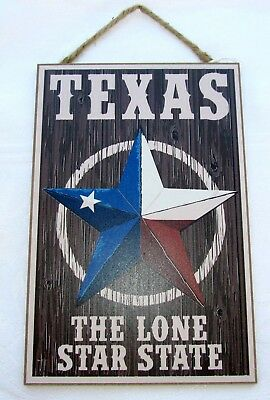 """Texas /""""The Lone Star State/""""  Wooden Sign   7/"""" x 10.5/"""""""