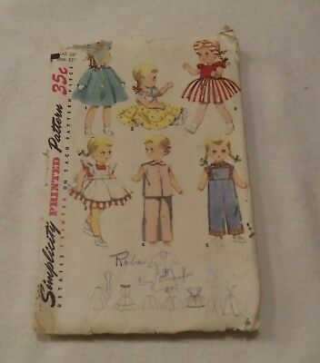 """Vintage doll clothes pattern SIMPLICITY #4509  16"""" doll 6 outfits Size 17"""""""