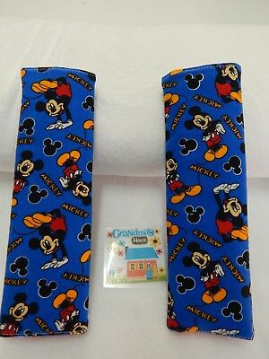 SET OF TWO  Seat Belt Cover Fits Standard Seat Belt - Mickey Mouse on Blue