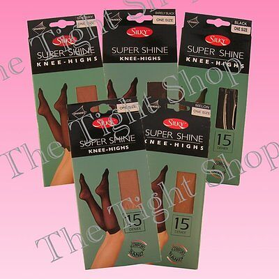 2 Pairs Supershine 15 Denier Knee Highs (Silky) Range of Colours
