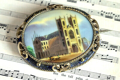 ANTIQUE VICTORIAN ENGLISH GILT HAND PAINTED BROOCH WESTMINSTER ABBEY c1870
