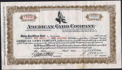 American Gyro Co Of Colorado, 1932, Uncancelled Stock Certificate