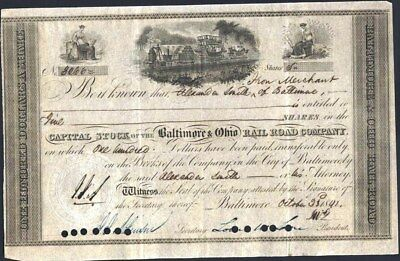 Baltimore & Ohio Rail Road Co, 1841, Early Certificate In Excellent Condition