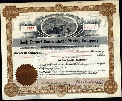 Beck Tunnel Consolidated Mining Co, 1912, Mines In Tintic Dist., Utah Uncancelle