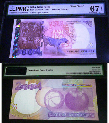"2004  Kba-Giori  ""test Note "" Pmg 67  Epq Superb Gem Unc -Perum Peruri"