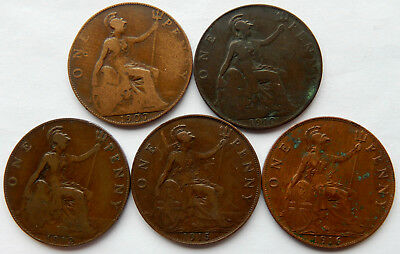 """1907 - 1916 UK / Great Britain One Penny Coin """"Assorted Lot of 5 Coins""""  SB5052"""