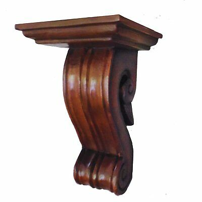 Hand-carved Corbel Wood Wall Bracket / Floating Shelf, 10 Inch (Suffolk Oak