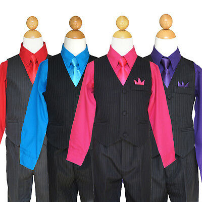 Boys Recital, Graduation, Party, Wedding Pinstripe Vest Suit Set,Size: 2T to 14