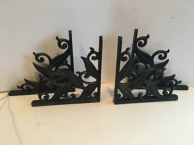 black cast iron shelf brackets set of 4 antique style