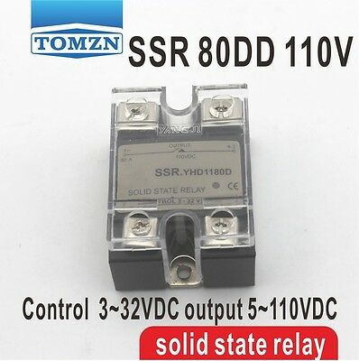 80DD SSR Control voltage 3~32VDC output 5~110VDC solid state relay