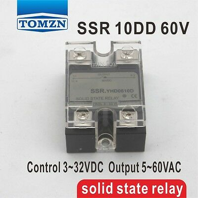 10DD SSR Control voltage 3~32VDC output 5~60VDC solid state relay