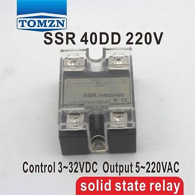 40DD SSR Control voltage 3~32VDC output 5~220VDC solid state relay