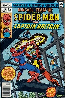 Marvel Teamup #65 1st US Captain Britain Spiderman Nice Copy OW White Pages