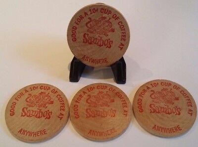 * Four Sambo's Wooden Nickel Token Anywhere Wooden Free Cup Coffee Coin