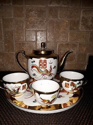 Vintage chinese teapot set and tray - Dragon & Phoenix Gold