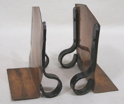 Vtg Arts & Crafts Copper and CI Bookends