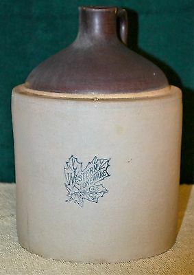 Western Stoneware Company Jug,  No Number Early Version 1 Gallon Brown Biege