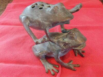 SPI Leaping Frogs Figurine Flower Holder Brass with Antique Green Patina