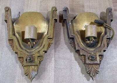 1 Pair Antique Ornate Leviton Art Deco Gilded Metal Wall Sconces no shades >