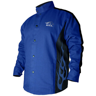 BSX® Contoured FR Cotton Welding Jacket, Royal Blue Size 3XL