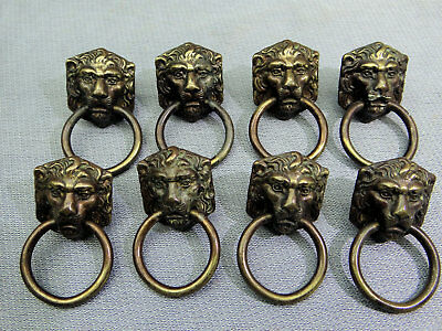 LOT of 8 Brass Lion Head Drawer Cabinet Pulls Tiger Animal Jungle Deco