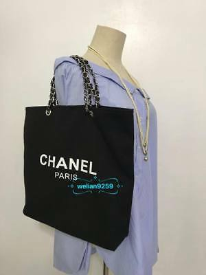 Stunning Auth Chanel Beauty Black SHW Faux Leather Canvas Makeup VIP Gift Bag