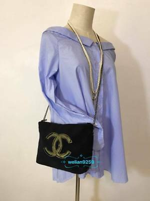 Classic Auth Chanel Beauty Black Color Chain Makeup VIP Gift Bag