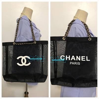 Auth GHW Chanel Beauty Mesh Makeup VIP Gift Bag (Slight Interior Imperfect)