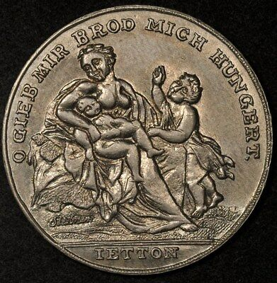 1816-1817 GERMANY HUNGER MEDAL MOTHER & CHILD/WEIGHTS & PRICES AU 33mm
