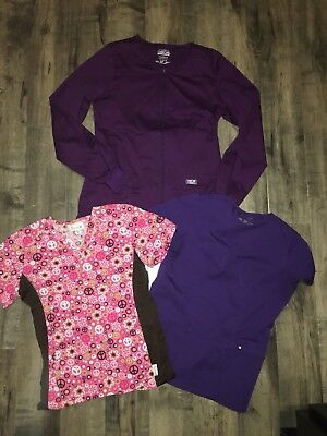 Extra Small Scrub Top Lot, Cherokee Jacket & Peaches & Luxe Tops XS