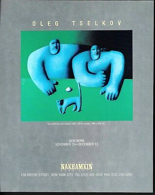 1989 Oleg Tselkovi Art Two With Cat & Lemon NY Gallery New Work Exhibit Print Ad