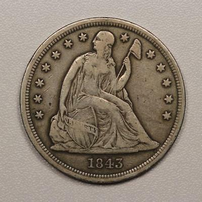 1843 Seated Liberty Dollar *Original VF* Great Type Coin!
