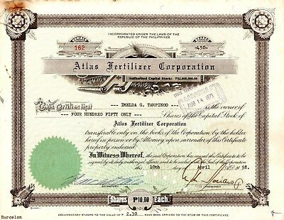 1958 Atlas Fertilizer Corporation Stock Certificate Philippines