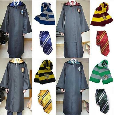 Harry Potter Hogwarts Adult Child Robe Cloak+Scarf+Tie Set School new Costumes