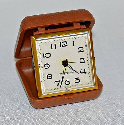 Vintage retro style WESTCLOX wind up travel alarm clock w/ brown case