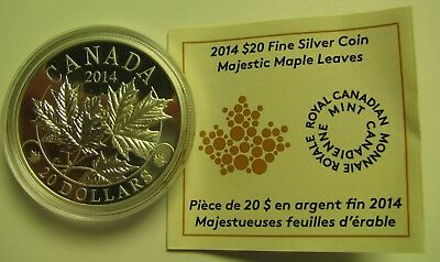 2014 Proof $20 Overlaid Majestic Maple Leaves #1 COIN&COA ONLY Canada .9999 silv