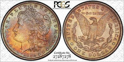 1882O Morgan Silver Dollar Toned Pcgs Ms-64 Cac  Blue And Orange Toning