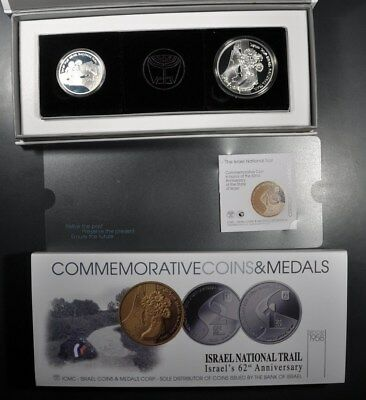 2010 Israel Independence Day National Trail Proof 2 New Shekel Unc 1 Shequel