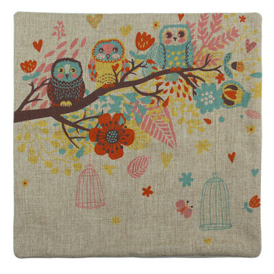 Colorful Flower Owl Cotton Linen Square Lumbar Cushion Cover Throw Pillow Case