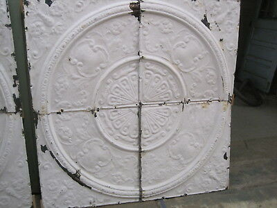 Antique Fancy Victorian  Ceiling Tin 4 Ft Square Medallion #a