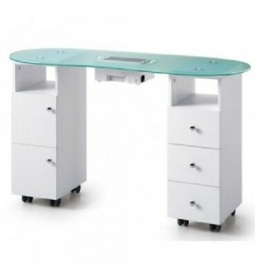 Vented Nail Table Glass Top Spacious Draws both sides