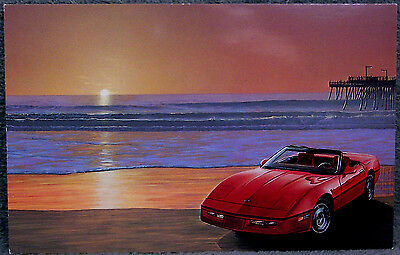 Post Card ~ Ec Products Design ~ Red Corvette Convertible