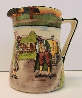 "Rare Antique Royal Doulton Motoring Series Ware Pitcher titled ""Blood Money"""