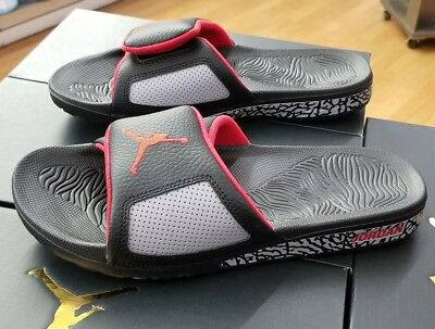 1de82f376 Jordan Hydro Iii Retro Sandal 854556 003 Black university Red Cement Men Sz  10