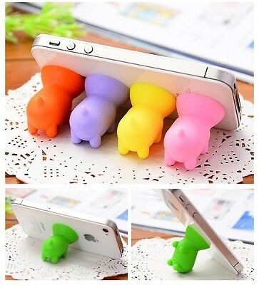 Mini Silicon Mobile Phone Tablet Holder Mount Port Dust Cover Pig Shape 10pcs