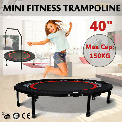 "40"" MiNi Trampoline Handrail Fitness Rebounder Jogger Workout Cardio Exercise"