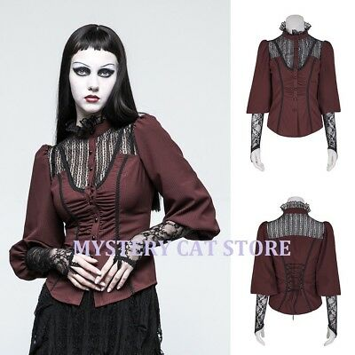 New PUNK RAVE Gothic Victorian Blouse Lace Top Dark Red Y-794 AUSTRALIAN STOCK