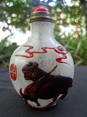 **** Antique Flake Glass Snuff Bottle With Riders, Butterflies And Oxen