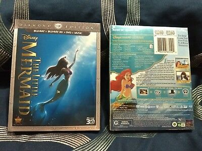 The Little Mermaid (Blu-ray 3D/DVD, 2013,3 Disc Set,Diamond Ed.*no digital copy*